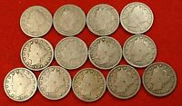 1900-1912 LIBERTY V NICKEL G FULL RIMS COLLECTOR 13 COINS  QUALITY LN552