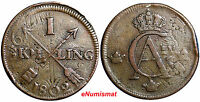 SWEDEN COPPER 1802 1 SKILLING OVERSTRUCK ON 2 ORE S.M. 1769 FULL  DATE