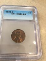 1930-S LINCOLN CENT ICG MINT STATE 64 RB FREE SHIP USA X00254