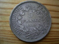1849A  FRANCE   5 SILVER FRANCS 25GRMS 37MM  COIN COLLECTABLE