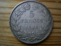 1846A  FRANCE   5 SILVER FRANCS 25GRMS 37MM  COIN COLLECTABLE