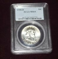 1958 D FRANKLIN HALF DOLLAR PCGS MS64