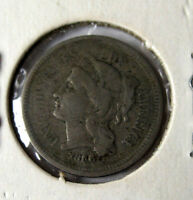 1866 THREE 3 CENT 3C NICKEL 3CN GREAT US STARTER COIN FOR YOUR USA COLLECTION