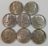 8 CIRCULATED US 40 SILVER HENNEDY HALF DOLLARS 1968 D & 1969 D