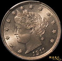 1911 MINT STATE 66 PCGS 5C LIBERTY NICKEL, GREAT LUSTER W/LIGHT BRONZE TONE FREE SHIP