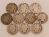 LOT OF 10 SILVER BARBER DIMES 10 CENT ALL DIFFERENT 1898 1915 P D & S C212C