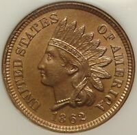 1862 1C NGC MS65 GEM INDIAN HEAD CENT TYPE COIN