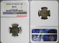 MEXICO REPUBLIC SILVER 1846 MO MF  1/2 REAL NGC MS63 TONED  KM 370.9