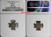 GERMAN STATES PRUSSIA BILLON 1790 A 1 PFENNIG  NGC MS65 TOP GRADED KM 350