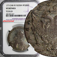 RUSSIA CATHERINE II SILVER 1771   ROUBLE BITKIN 210 TONED NGC VF DETAILS