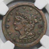 1846 NGC AU DETAILS PROOF RESTRIKE BRAIDED HAIR HALF CENT COIN 1/2C