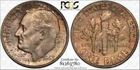 1947 D ROOSEVELT SILVER DIME GRADED MS66 BY PCGS & TONED