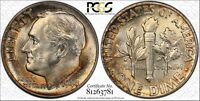 1948 ROOSEVELT SILVER DIME GRADED MS66FB BY PCGS WITH RAINBOW TONED REVERSE