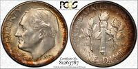 1955 S ROOSEVELT SILVER DIME GRADED MS66FB BY PCGS & TONED