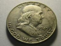 1949 D FRANKLIN HEAD HALF DOLLAR BU NICKS