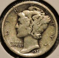 SILVER MERCURY DIME   1924   EARLY DATES   $1 UNLIMITED SHIPPING