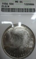 1936 ELGIN SILVER COMMEMERATIVE MINT STATE 64 ANACS