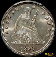 1890 MS65 PCGS 25C SEATED LIBERTY QUARTER BRILLIANT & GORGEOUS LUSTROUS