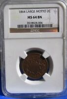 1864 LARGE MOTTO 2C TWO CENT PIECE NGC MINT STATE 64 BN