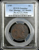 1797 DRAPED BUST CENT PCGS AU DETAILS - S-130, R.2, REVERSE OF 1797 WITH STEMS