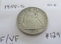 KEY DATE   1858 S SEATED LIBERTY HALF DOLLAR    F/VF    ONLY 476,000 MINTED