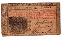 COLONIAL CURRENCY JOHN HART SIGNED NEW JERSEY MARCH 25 1776 15S