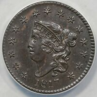 1817 N-16 ANACS AU 58 DETAILS 15 STARS MATRON OR CORONET HEAD LARGE CENT COIN 1C