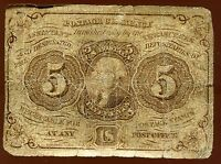1862 5 CENT FRACTIONAL US POSTAGE CURRENCY FIRST SERIES