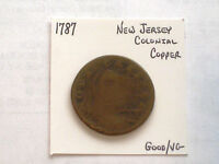 1787 NEW JERSEY COLONIAL NOVA CAESAREA COPPER COIN GOOD/VG