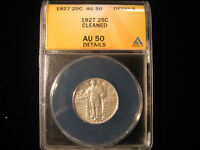 1927 STANDING LIBERTY QUARTER 25C ANACS AU50 DETAILS CLEANED - SHIPS FREE