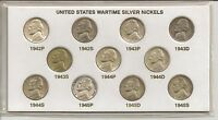 SILVER WAR NICKELS COMPLETE SET OF 11 1942 1945 IN FOLDER    NR