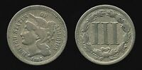 1866 3C US NICKEL THREE CENT PIECE EARLY TYPE COIN F FINE