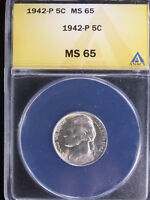 1942 P 5C TYPE 2 JEFFERSON NICKEL ANACS MS65