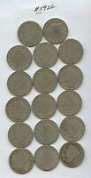 17 PCS. 1898 LIBERTY NICKELS 5926 LOWER GRADE COINS. READABLE DATES. CAREFULL