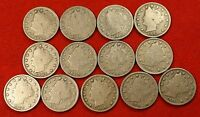 1900-1912 LIBERTY V NICKEL G FULL RIMS COLLECTOR 13 COINS  QUALITY LN555