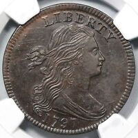 1797 S-138 NGC MINT STATE 62 BN STEMS DRAPED BUST LARGE CENT COIN 1C