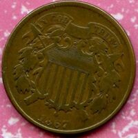 1867 F 2C BRONZE TWO CENT PIECE