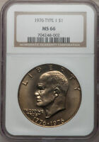 1976 P T 1  EISENHOWER S$1 NGC MS 66   KEY DATE COIN REGISTRY