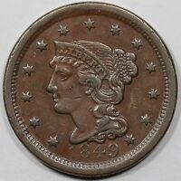 1849 N 5C R 3 MDS BRAIDED HAIR LARGE CENT COIN 1C