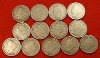 1900-1912 LIBERTY V NICKEL G FULL RIMS COLLECTOR 13 COINS  QUALITY LN563
