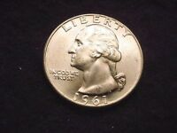 1961 D WASHINGTON QUARTER GREAT GEM BU COIN  12