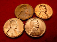 1954 S 1955 D 1955 S & 1956 LINCOLN CENT GREAT BU COINS  2