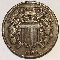 1864 2 - TWO CENT PIECE  BETTER CHOICE COIN