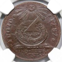 1787 13 X R 2 NGC MS 64 BN POINTED RAYS 4 CINQ FUGIO COLONIAL COPPER COIN