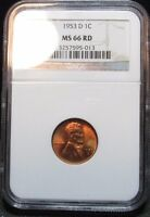 1953-D 1C LINCOLN WHEAT CENT NGC MINT STATE 66RD