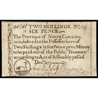 COLONIAL CURRENCY NORTH CAROLINA. DECEMBER 1771. TWO SHILLINGS SIX PENCE. DUCK