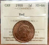1900 RED CANADA LARGE ONE CENT PENNY A0009 $1350  ICCS MS 64   BRIGHT RED COIN