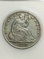 1859 S NO MOTTO   LIBERTY SEATED HALF DOLLAR   VF CLEAN  LOW MINTAGE   INV4153
