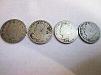 LOT OF FOUR LIBERTY NICKELS YEARS 1889, 1901, 1902, AND 1910