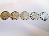 LOT OF FIVE LIBERTY NICKELS YEARS 1912, 1883, 1899, 1911, AND 1905